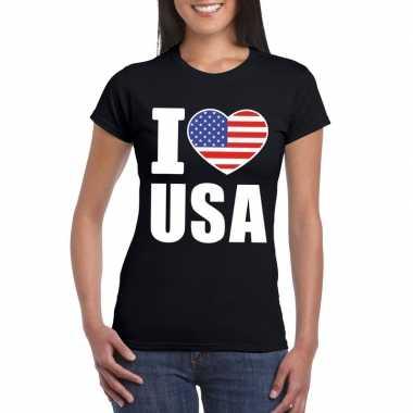 Zwart i love usa amerika fan shirt dames