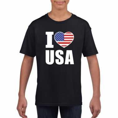 Zwart i love usa amerika fan shirt kinderen