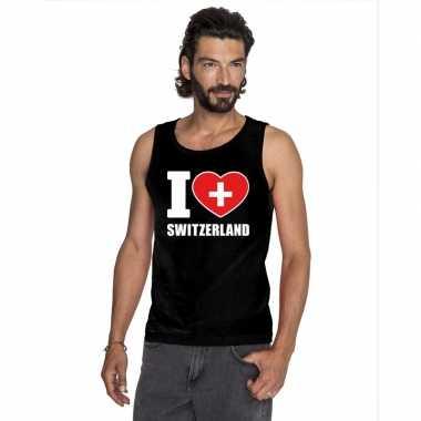 Zwart i love zwitserland fan singlet shirt/ tanktop heren