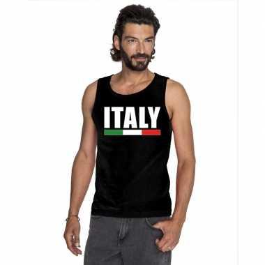 Zwart italie supporter singlet shirt/ tanktop heren