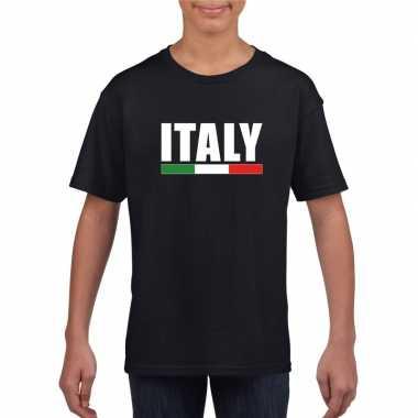 Zwart italie supporter t shirt kinderen