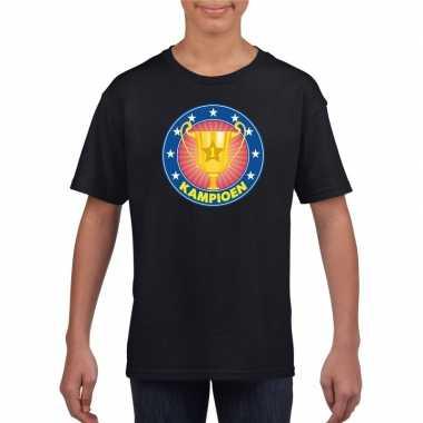 Zwart kampioen shirt kinderen
