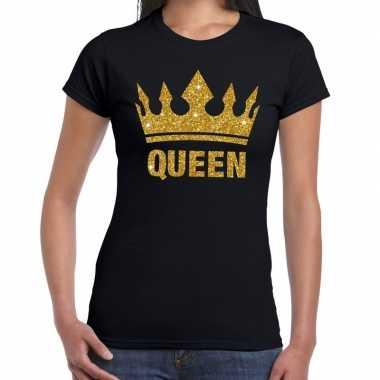 Zwart koningsdag queen shirt gouden glitters kroon dames
