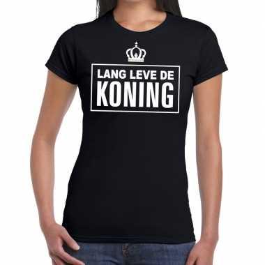 Zwart lang leve koning t shirt dames