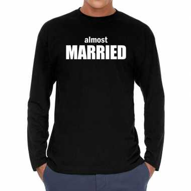 Zwart long sleeve shirt almost married bedrukking heren