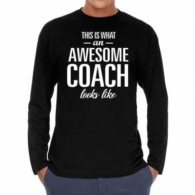 Zwart long sleeve shirt awesome coach bedrukking heren