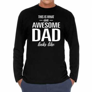 Zwart long sleeve shirt awesome dad bedrukking heren
