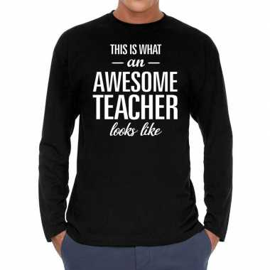 Zwart long sleeve shirt awesome teacher bedrukking heren
