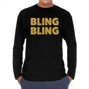 Zwart long sleeve shirt bling bling goud glitter bedrukking heren