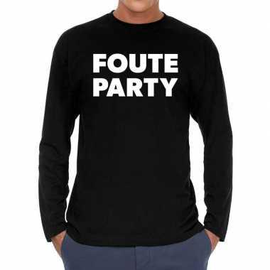 Zwart long sleeve shirt foute party bedrukking heren