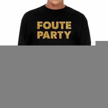 Zwart long sleeve shirt foute party goud glitter bedrukking heren