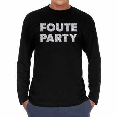 Zwart long sleeve shirt foute party zilver glitter bedrukking heren