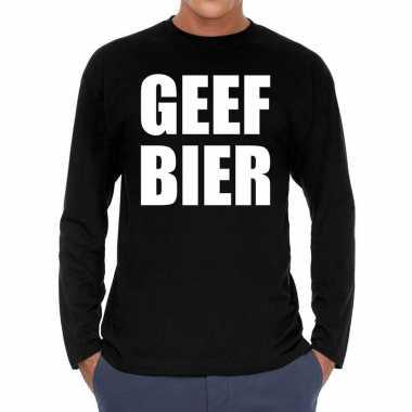 Zwart long sleeve shirt geef bier bedrukking heren