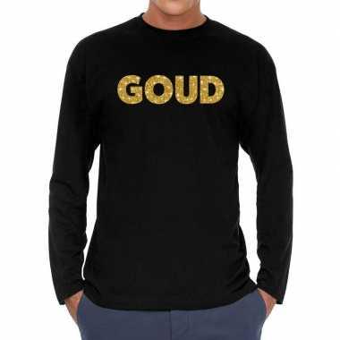 Zwart long sleeve shirt goud glitter bedrukking heren