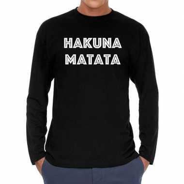 Zwart long sleeve shirt hakuna matata bedrukking heren