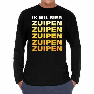 Zwart long sleeve shirt ik wil bier zuipen zuipen zuipen bedrukking h