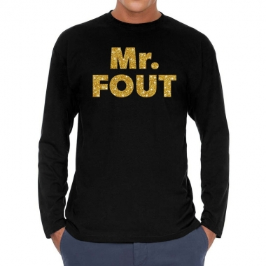 Zwart long sleeve shirt mr. fout goud glitter bedrukking heren