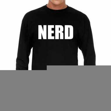 Zwart long sleeve shirt nerd bedrukking heren
