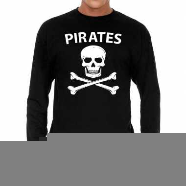 Zwart long sleeve shirt pirates bedrukking heren