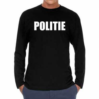 Zwart long sleeve shirt politie bedrukking heren