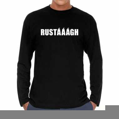 Zwart long sleeve shirt rustaaagh bedrukking heren