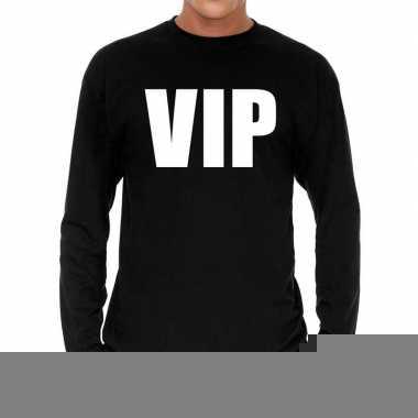 Zwart long sleeve shirt vip bedrukking heren