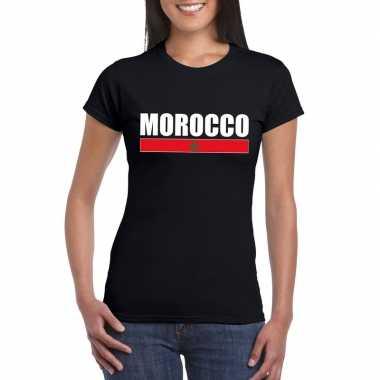 Zwart marokko supporter t shirt dames