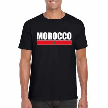 Zwart marokko supporter t shirt heren