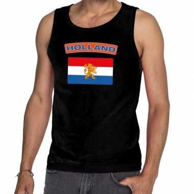 Zwart nederlandse vlag holland mouwloos shirt heren