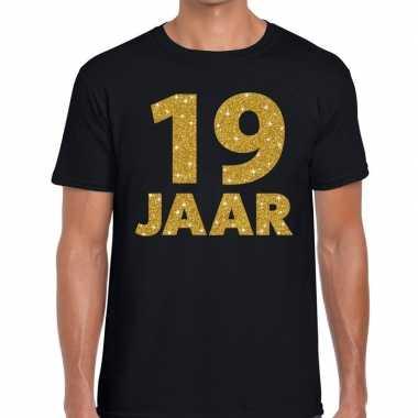 Zwart negentien jaar verjaardag shirt heren gouden bedrukking