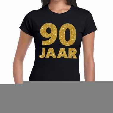 Zwart negentig jaar verjaardag shirt dames gouden bedrukking