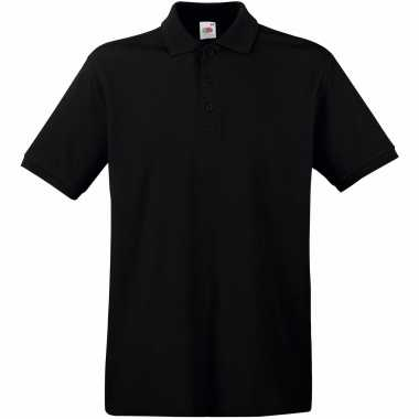 Zwart poloshirt / polo t shirt premium katoen heren