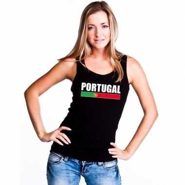 Zwart portugal supporter singlet shirt/ tanktop dames
