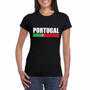 Zwart portugal supporter t shirt dames