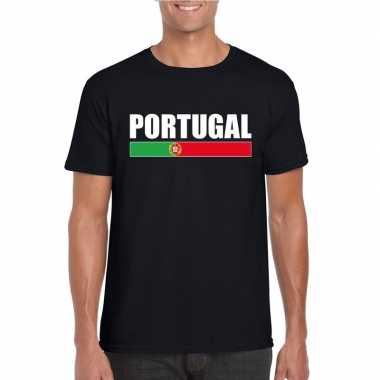 Zwart portugal supporter t shirt heren