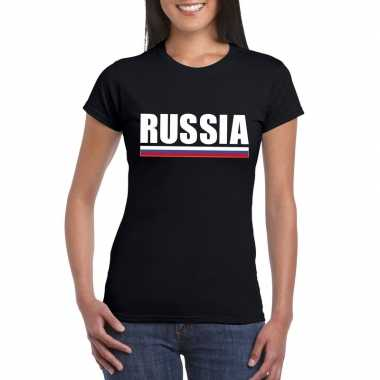 Zwart rusland supporter t shirt dames