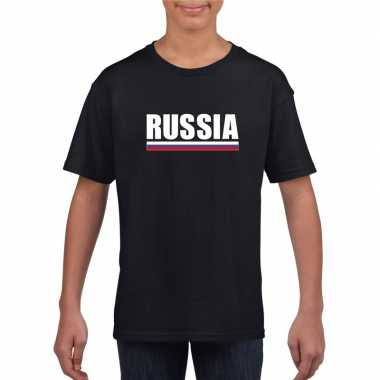 Zwart rusland supporter t shirt kinderen