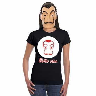 Zwart salvador dali t shirt la casa papel masker dames