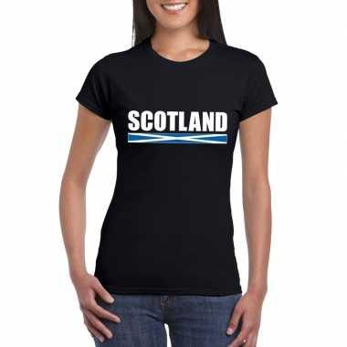 Zwart schotland supporter t shirt dames