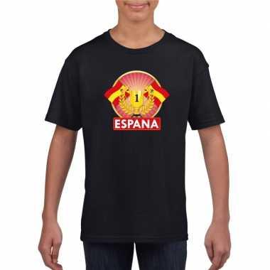 Zwart spanje supporter kampioen shirt kinderen