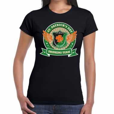 Zwart st. patricks day drinking team t shirt dames