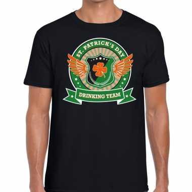Zwart st. patricks day drinking team t shirt heren