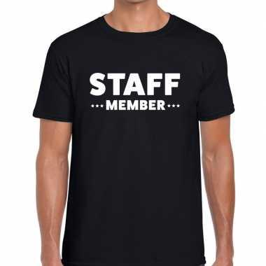 Zwart staff member shirt heren