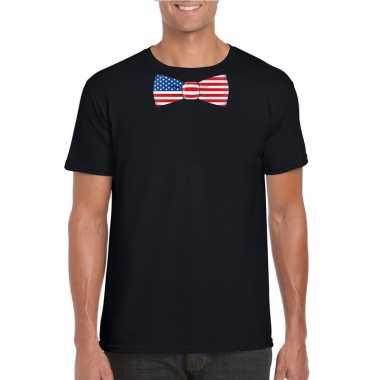 Zwart t shirt amerika vlag strikje heren