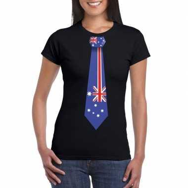 Zwart t shirt australie vlag stropdas dames