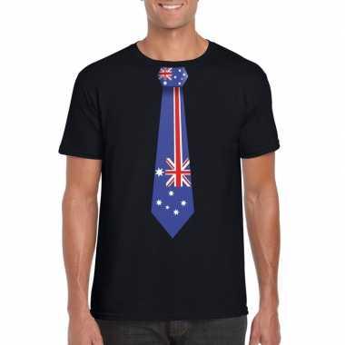 Zwart t shirt australie vlag stropdas heren