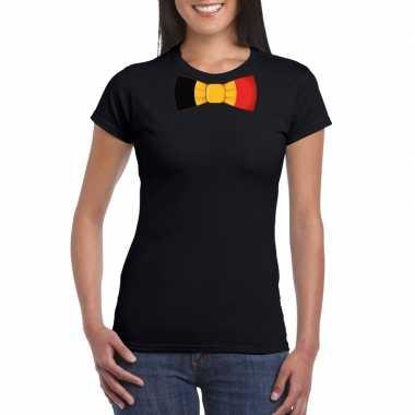 Zwart t shirt belgie vlag strikje dames