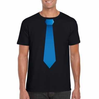 Zwart t shirt blauwe stropdas heren