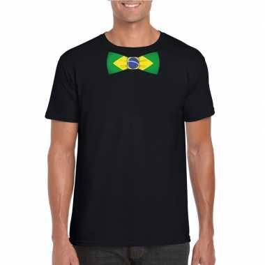 Zwart t shirt brazilie vlag strikje heren