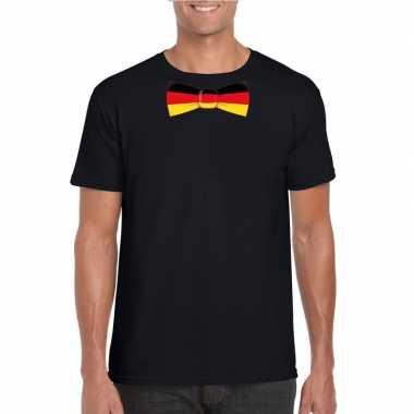 Zwart t shirt duitsland vlag stropdas heren